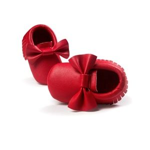 Other - Red with Bow Baby Moccasins Slip-on Shoes